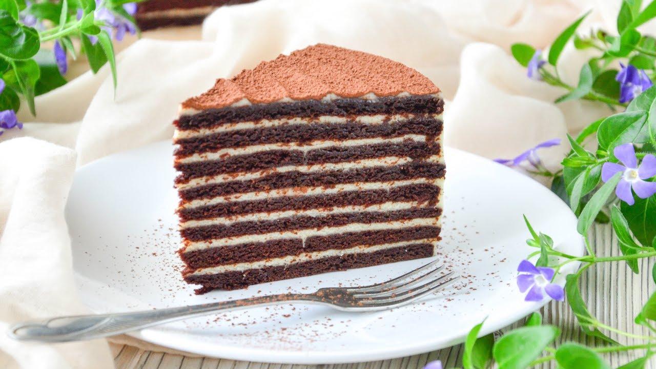 Торт СПАРТАК ☆ Шоколадный МЕДОВИК с заварным СМЕТАННЫМ ...