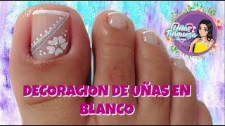 ♥Diseño de uñas para pies en blanco/♥uñas paso a paso/uñas principiantes thumbnail