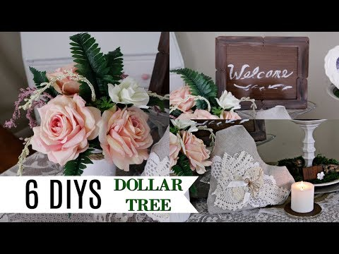 6 DIYS DOLLAR TREE SPRING BRIDAL FARMHOUSE RUSTIC DECOR CRAFTS 💗FLORAL CENTERPIECE RING PILLOW