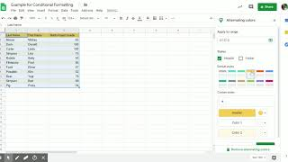 Example for Conditional Formatting and Creating Heat Maps- Google Sheets