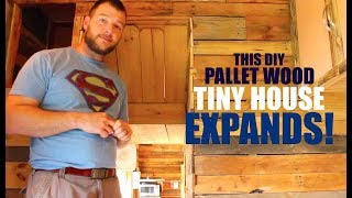 This Pallet Wood Tiny House EXPANDS!