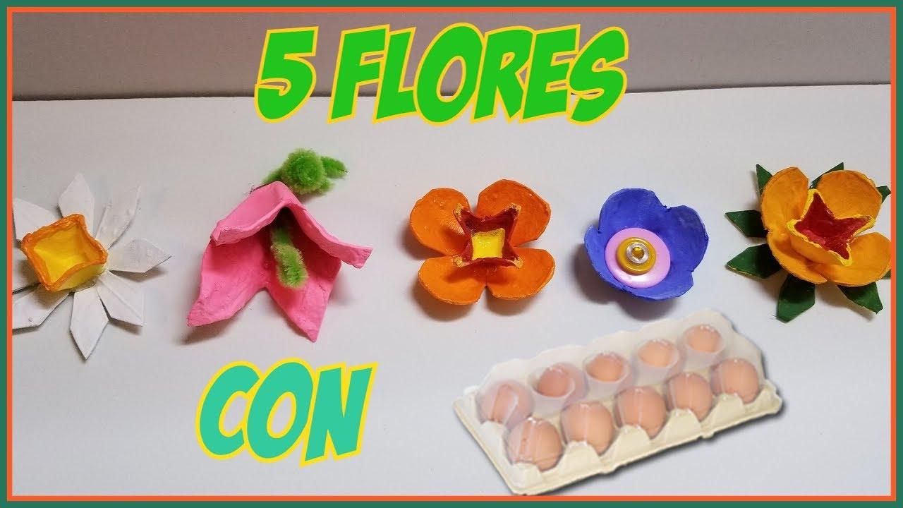 5 Flores De Cartones De Huevo Reciclados Youtube