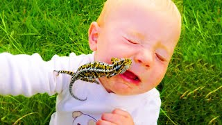 Funny Baby Reaction to First Meet The Frog ★ Funny Babies and Pets