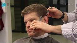 Miesten hiustenleikkaus saksilla kammanpäältä tekniikalla sekä  point cut tekniikalla.
