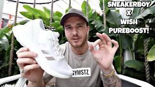 this shoe is absolute fire   adidas wish x sneakerboy pureboost unboxing on feet review