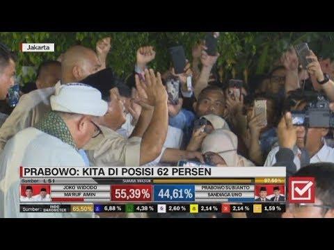 Detik-detik Prabowo Sujud Syukur Usai Klaim Menang 62 Persen