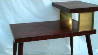 Vintage Mid Century Danish Modern 1960's Cherry Side End Table W/ Gold Trim