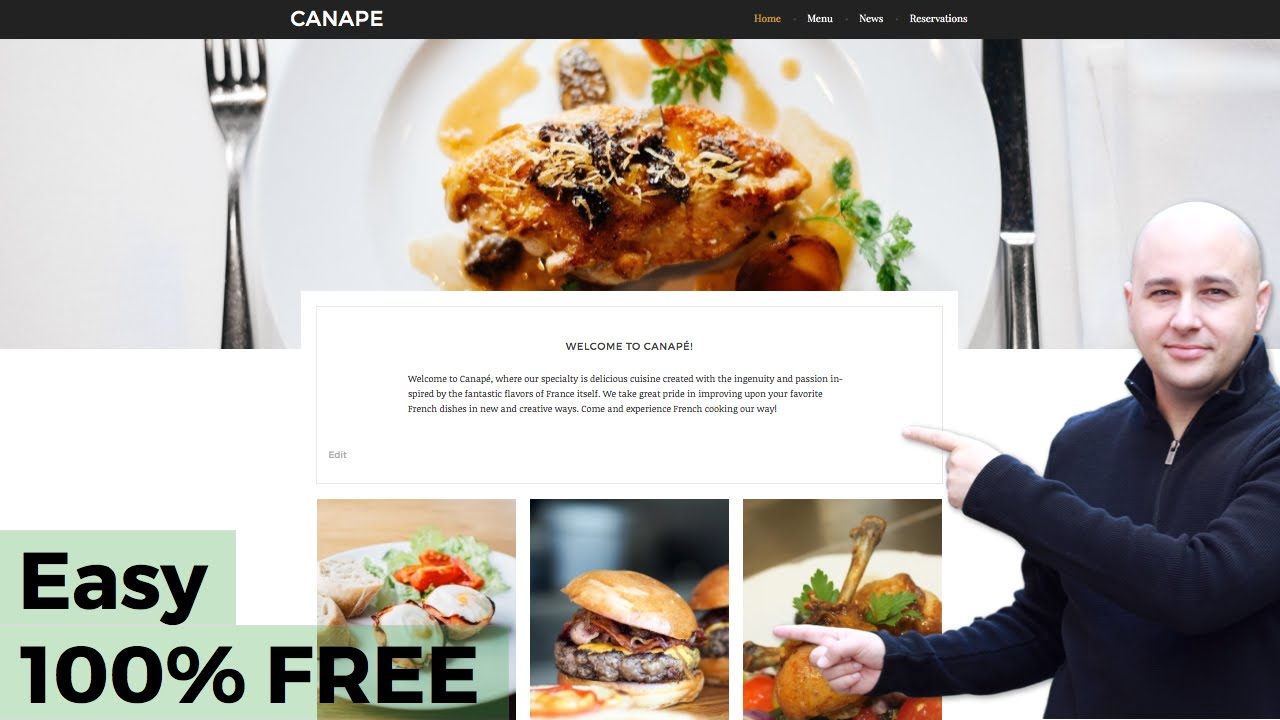 how to make a restaurant website with wordpress 100 free in 60