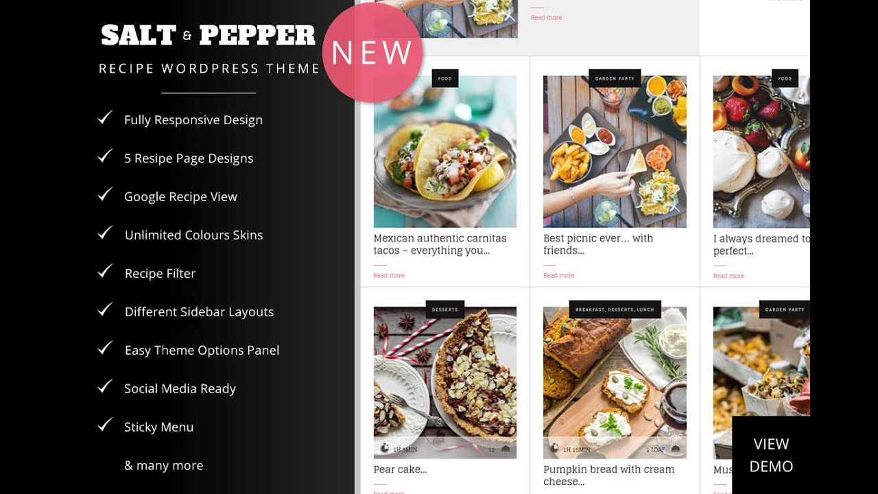 Salt pepper food recipes blog wordpress theme food recipes salt pepper food recipes blog wordpress theme food recipes cooking website template youtube forumfinder Gallery
