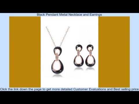 Black Pendant Metal Necklace and Earrings