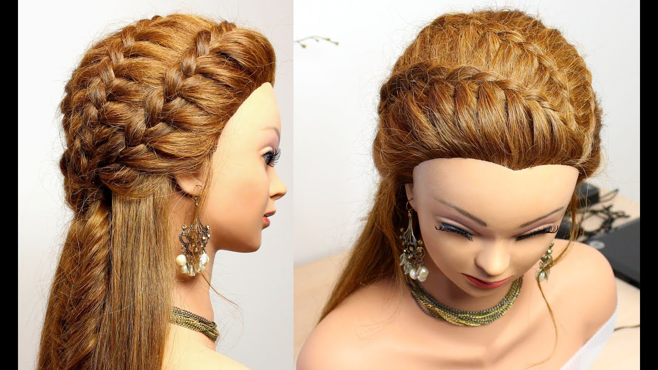Hairstyle for medium long hair. Easy braids tutorial - YouTube