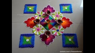Diwali special big and beautiful rangoli | Easy rangoli designs by Poonam Borkar