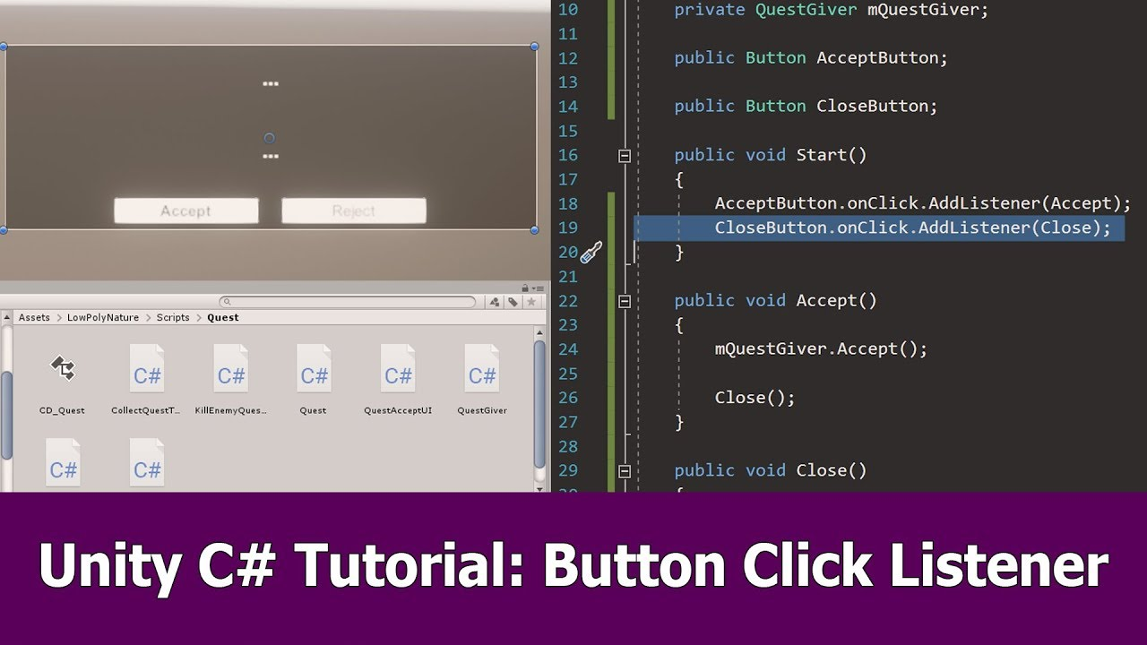 Unity Button Click Events Listener : C# Tutorial - YouTube