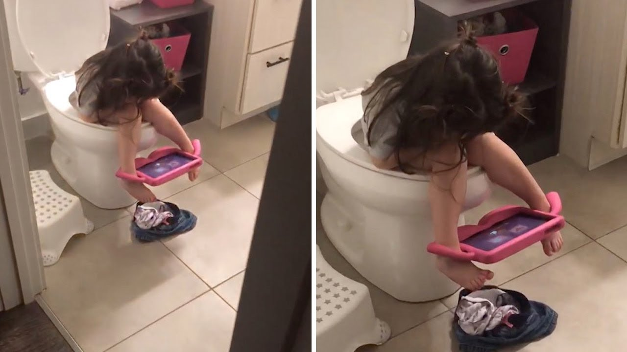 Little Girl Finds Creative Way To Use Ipad On Toilet