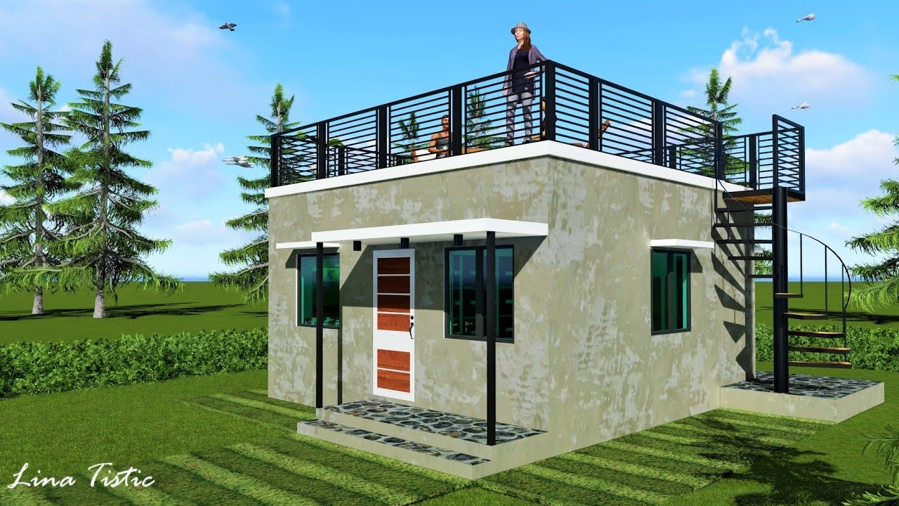 Small House Design W Roof Deck 6 X 6 M 20x 20 Ft Youtube
