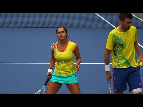 US Open 2012 Mixed Doubles Mirza/Fleming Vs Oudin/Sock Part 1