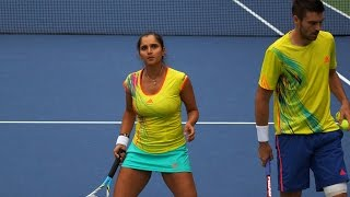 us open 2012 mixed doubles mirza fleming vs oudin sock part 1