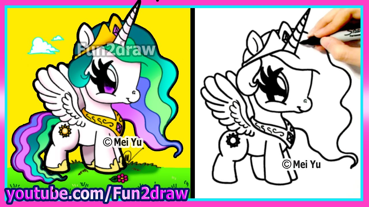 cute my little pony princess celestia drawing for kids easy
