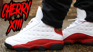 "2017 JORDAN 13 ""CHERRY"" REVIEW AND ON FEET !!! IN 4K"