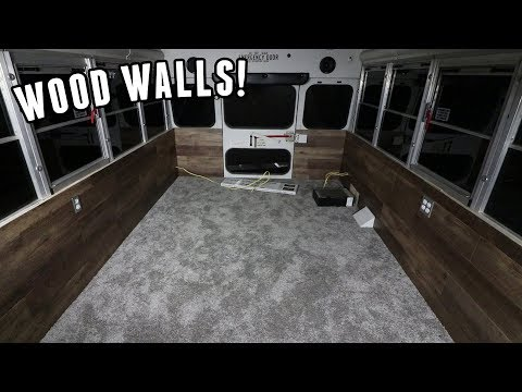 Adventure Bus Build Pt 7 - Finishing Wood Plank Walls & Paint Reveal