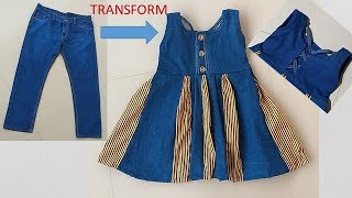 Download Transform Old Jeans To Designer Baby Frock Cutting And Stitching Full Tutorial Mp3 and Videos