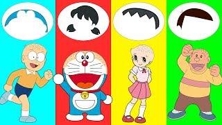 Learn Colors Doraemon Hairs trolls Nobita Xuka Chaien Finger Family Nursery Rhymes