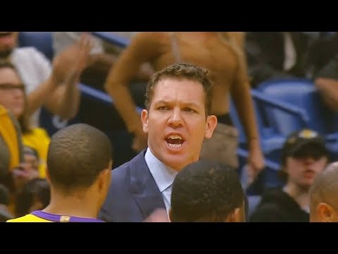 Luke Walton Gets Ejected And Exchanges Words With Referee! Lakers Vs Pelicans February 14, 2018