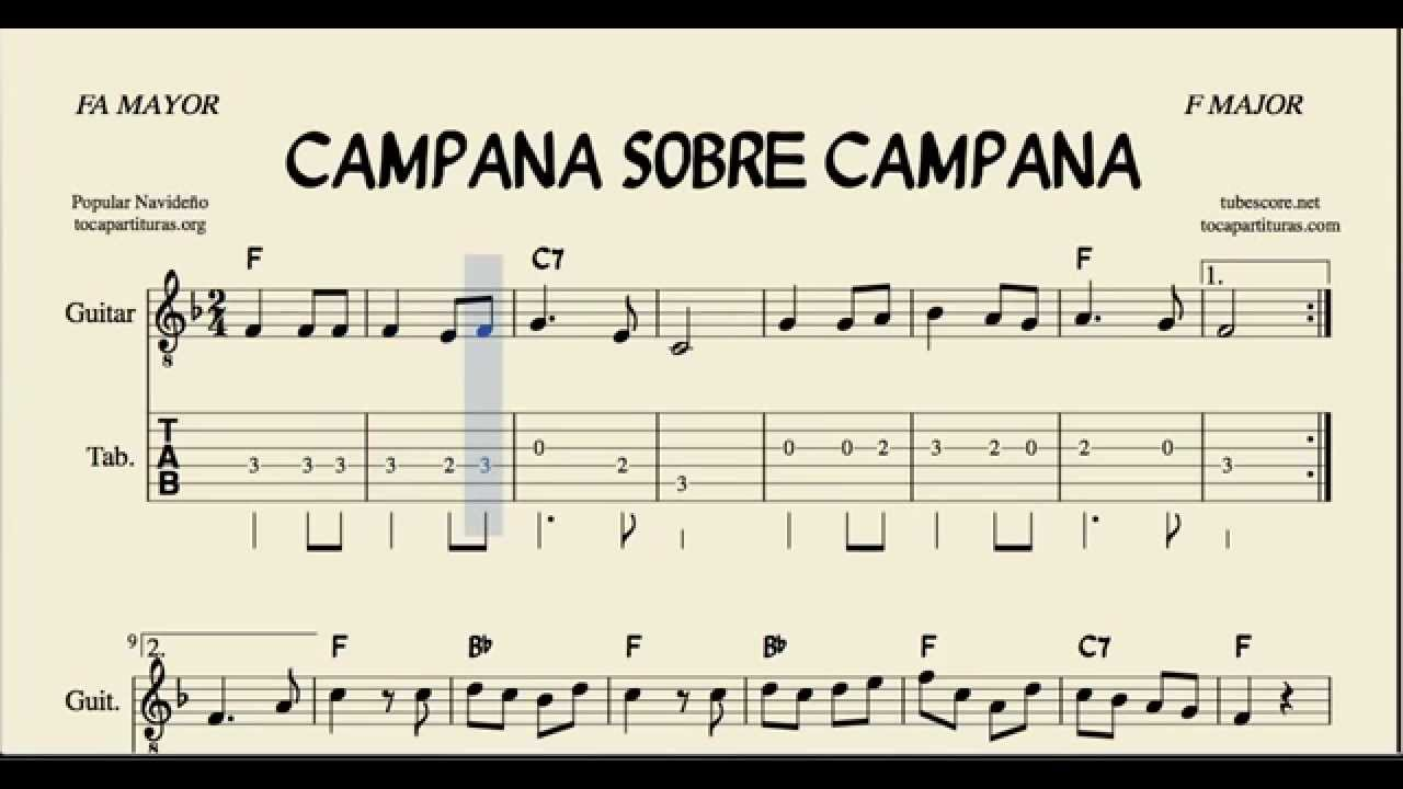 Campana Sobre Campana Tablatura Y Partitura En Fa Mayor Con Acordes Villancico Youtube