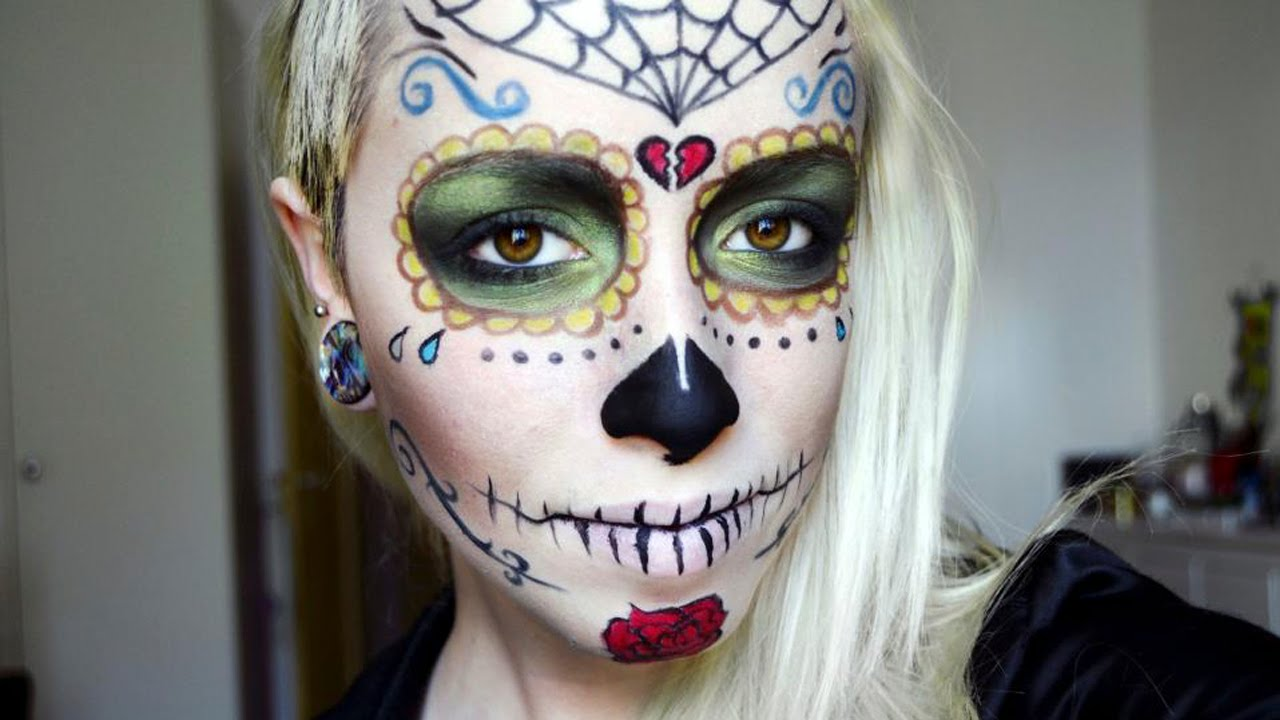 Caveira Do Dia Dos Mortos Sugar Skull Make Up Tutorial