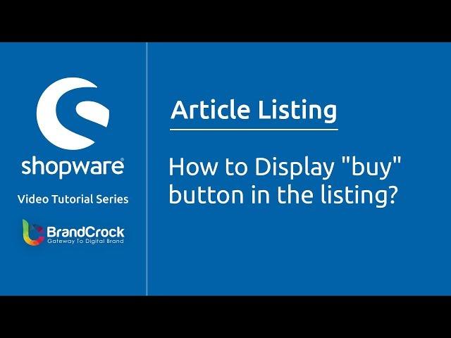 Shopware tutorials : How to Display