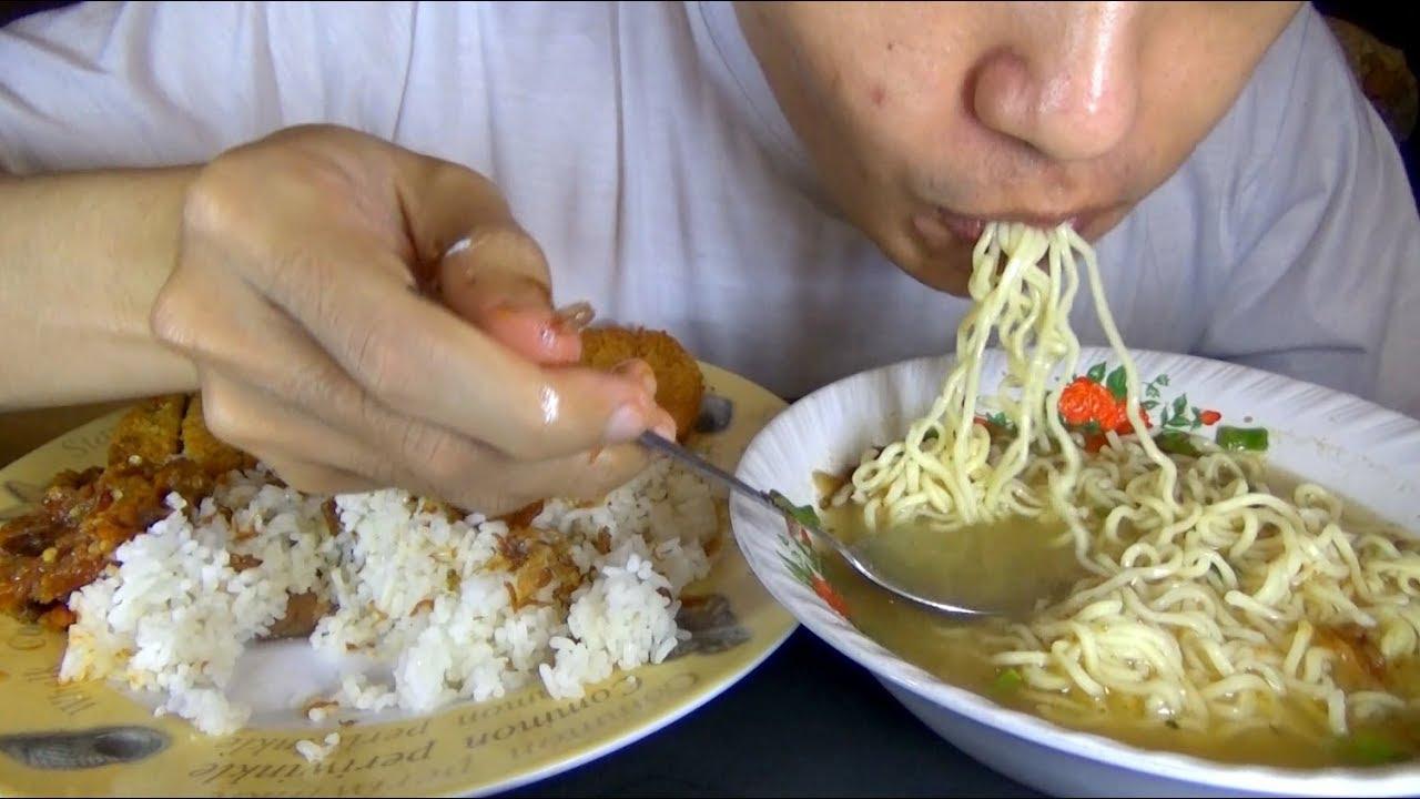 Asmr Eating Sound Lets Eat Noodles Chicken Nugget Fried Egg Rice