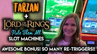 AWESOME BONUS!! Lord of the Rings Rule Them All Slot Machine!! Re-Triggered All the Way to the Top!!