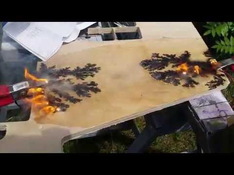 Burning Lichtenberg Lightning Figures into Wood. Initial testing