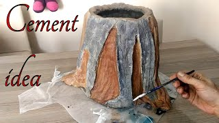 Çimento Kumaş ile Kütük Saksı Yapımı