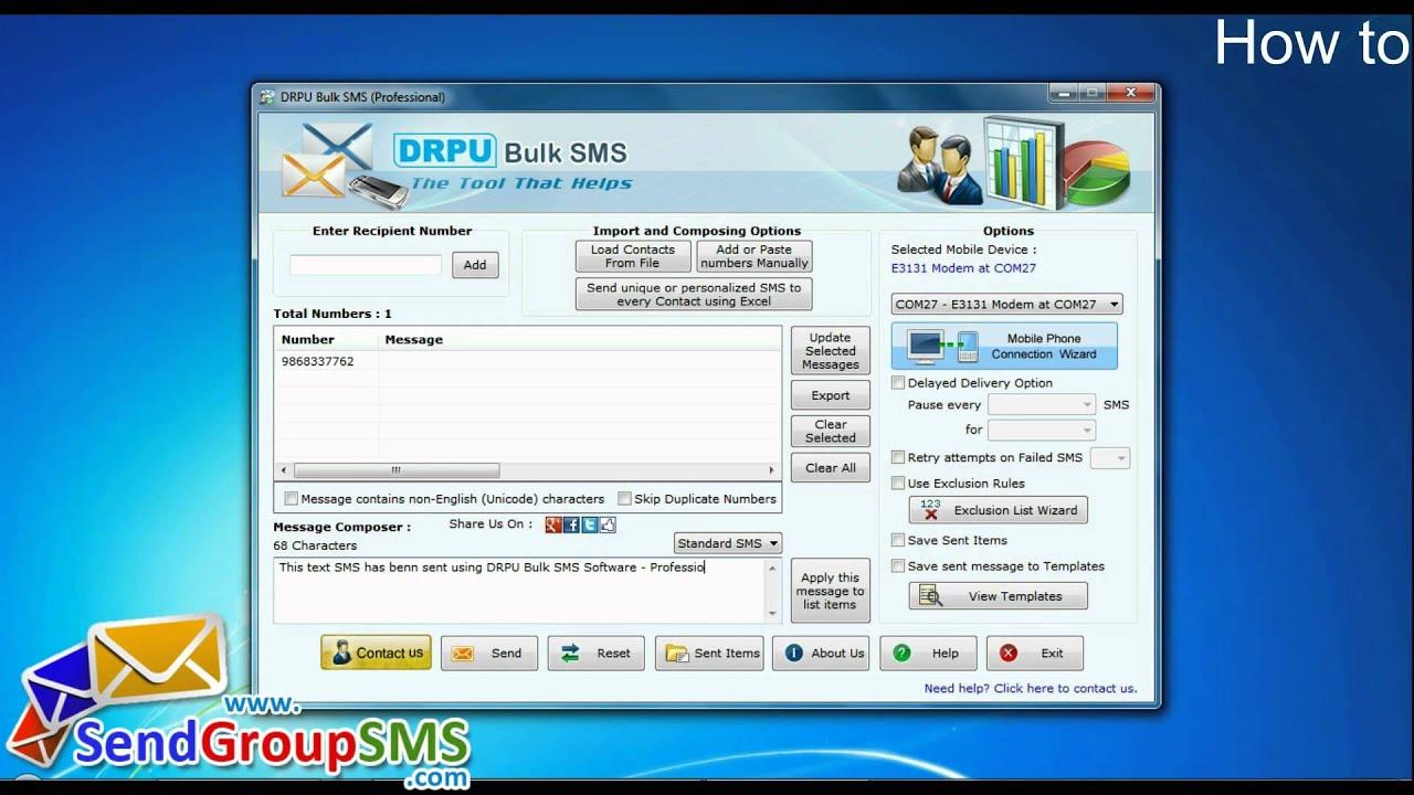 Huawei USB GSM Modem Bulk SMS Software to send text messages online
