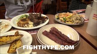 FLOYD MAYWEATHER PACKS ON POUNDS WITH 5-COURSE BREAKFAST DAY BEFORE WEIGH-IN AHEAD OF MAIDANA CLASH