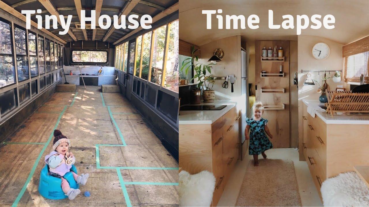 Amateur Builder Turns School Bus into GORGEOUS Tiny House: 18 Month TIME LAPSE