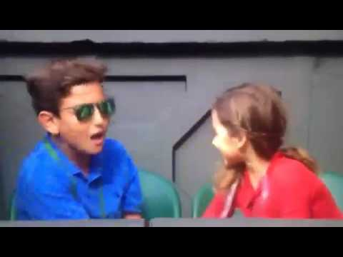 Federer's daughter jokes with Tony Godsick's son