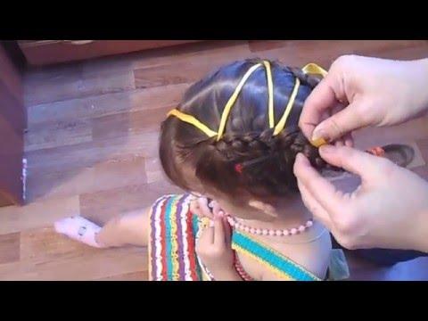 """Прическа праздничная для девочек - """"Косички с лентой"""" на средние и длинные волосы!"""