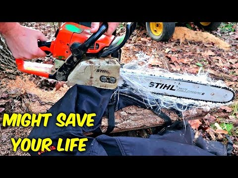 Download Youtube: Do Chainsaw Safety Chaps Actually Work? (Slow Mo)