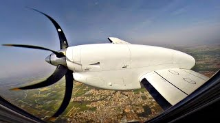 TUS Airways   First Official Flight   Saab 340 Full Flight LCA-TLV   GoPro Wing View - NEW AIRLINE