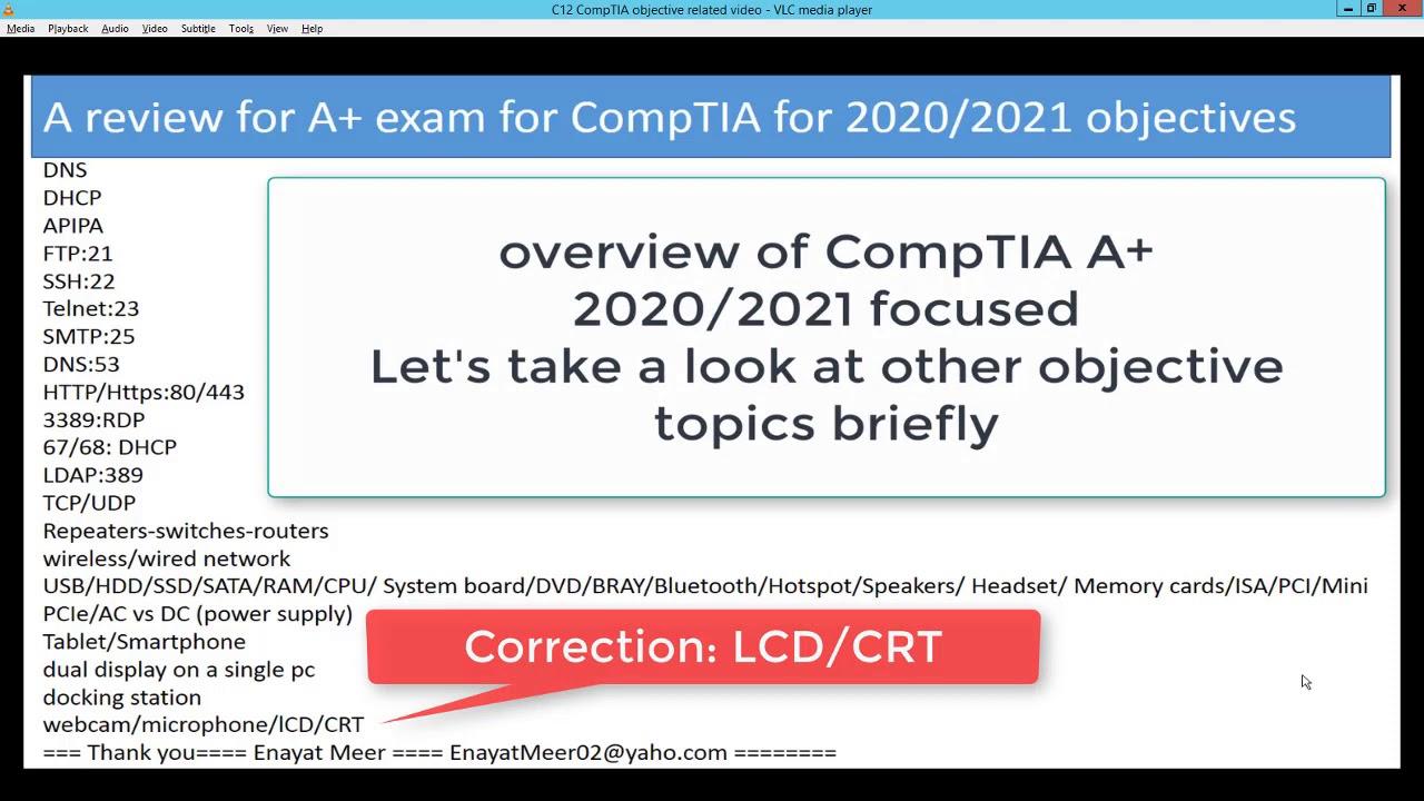 CompTIA 2020 2021 Exam objectives overview exam1