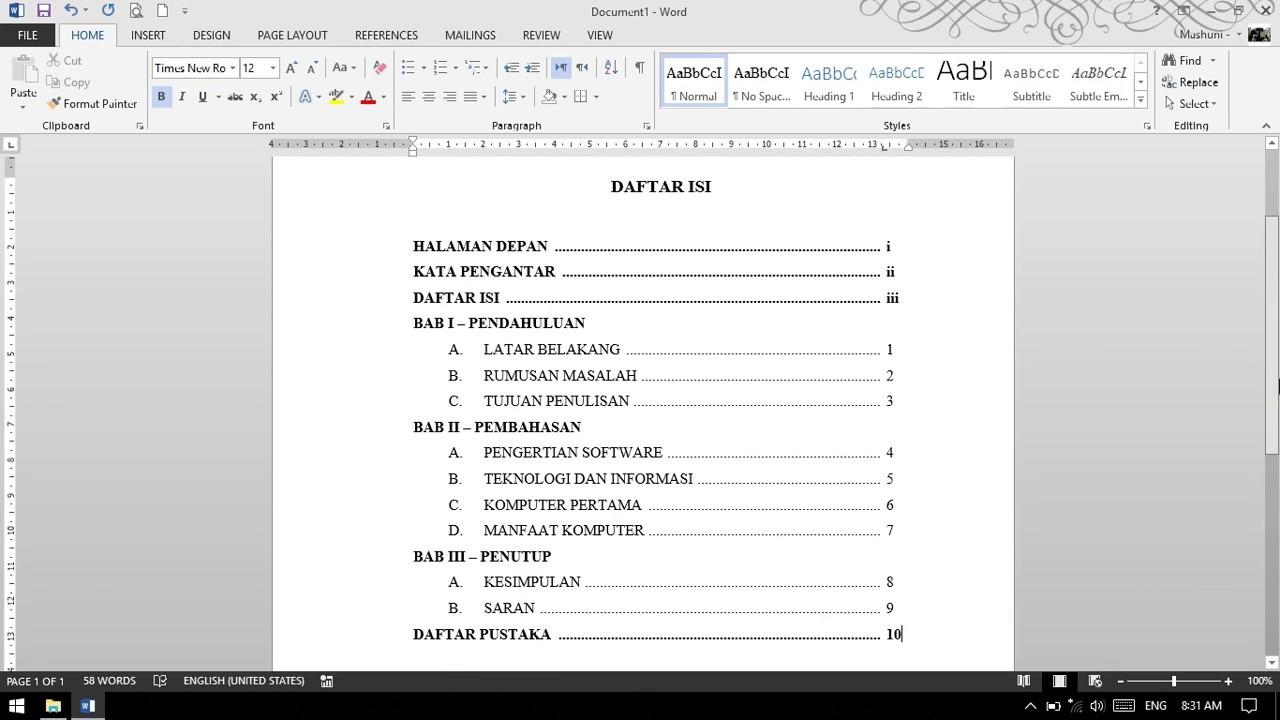 Tutorial Microsoft Word 2013 Membuat Daftar Isi Untuk Makalah