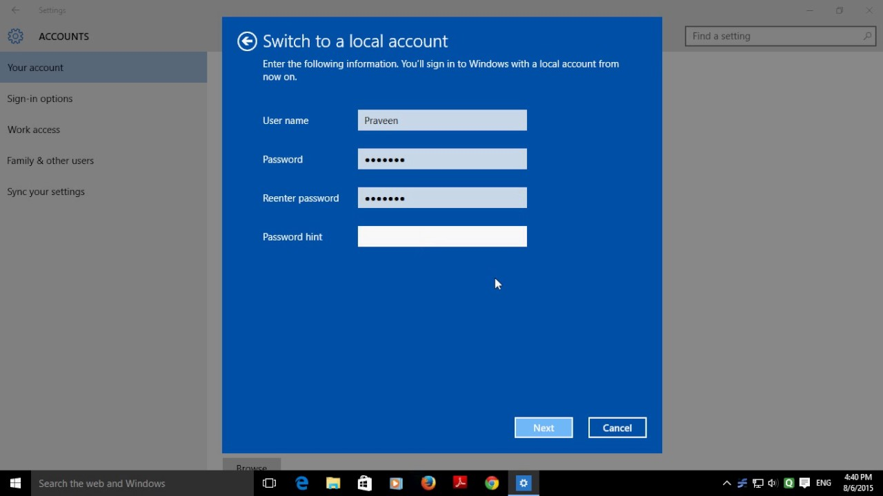 how to delete windows 10 outlook account