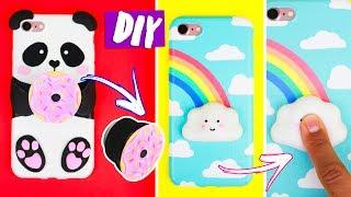 DIY POPSOCKET + CAPA DE CELULAR ANTI-STRESS   SQUISHY KAWAII! 🐼🍩🌥! Por Isabelle Verona! Ep.3