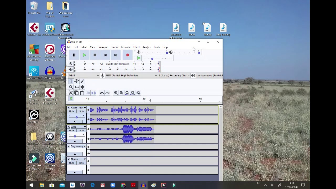 Recording a story with sound effects on audacity