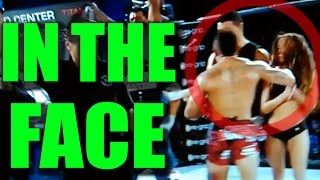 MMA Fighter Accidently Punches Ring Girl In The Face After Learning He Lost The Fight! FULL 2016