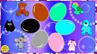 Цветные яйца с сюрпризами. Игрушки.  Развивающий мультик для малышей