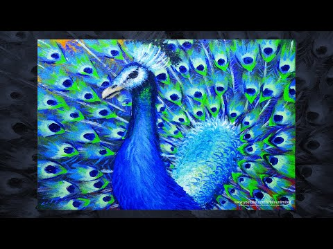 PEACOCK BIRD PAINTING TUTORIAL FOR BEGINNERS | BASIC ACRYLIC LESSON