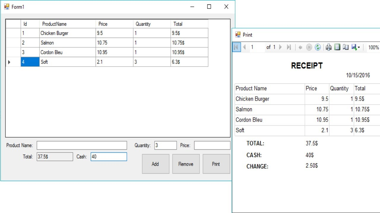 C# Tutorial - Print Receipt using Report Viewer   FoxLearn